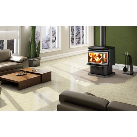 Osburn 2200 Wood Stove with Brushed Nickel Door Overlay and Brushed Nickel Louvre and Trivet Kit - Osburn 2200 Wood Stove