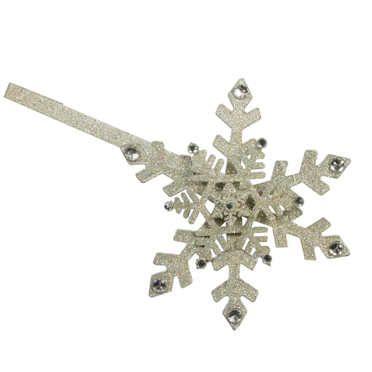 """18"""" Diamante Glittered Snowflake Christmas Wreath Holder with Jewels Decoration"""
