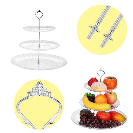 Hilitand 3-Tier Acrylic Cake Tray Fruits Nuts Display Round Decorative Party Desserts Holder(Crystal, Lotus, Petals) (Halloween Themed Fruit Trays)