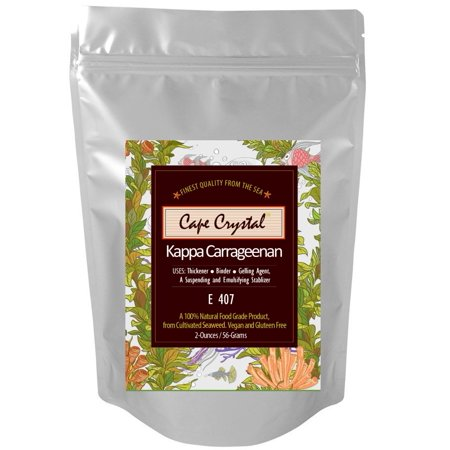 Premium Kappa Carrageenan Powder 2-oz. By Cape Crystal - Food Grade Organic Natural Thickener, Stabilizer & Gelling Agent - Great For Molecular Gastronomy
