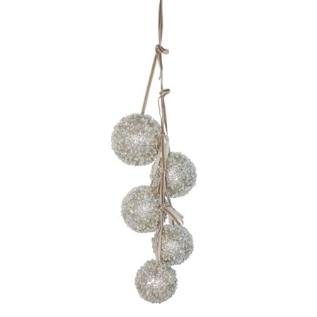 Silver Ball Drop - Pack of 6 Brown and Silver Finish Christmas Decorative Ball Drop Ornament 20