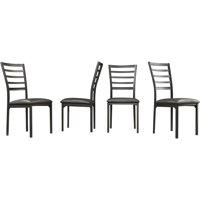 Metal Side Chairs, Set of 4, Black