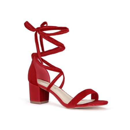 Unique Bargains Women's Mid Chunky Heeled Open Toe Lace Up Sandals Red (Size (This Moment Black Suede Lace Up Heels)