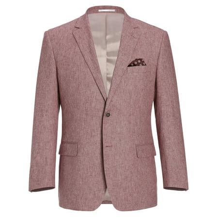 Men's Two-Button Sport Coat Classic Fit Linen Cotton Blazer Summer Riding Jacket