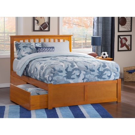 Atlantic Furniture Mission King Platform Bed with Flat Panel Foot Board and 2 Urban Bed Drawers in Caramel