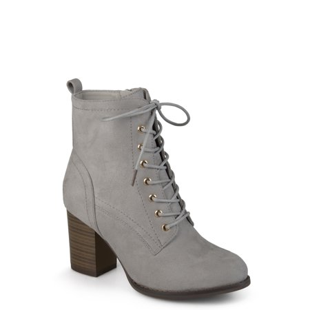 547843c3ff Brinley Co. Women's Lace-up Stacked Heel Faux Suede Booties - Walmart.com