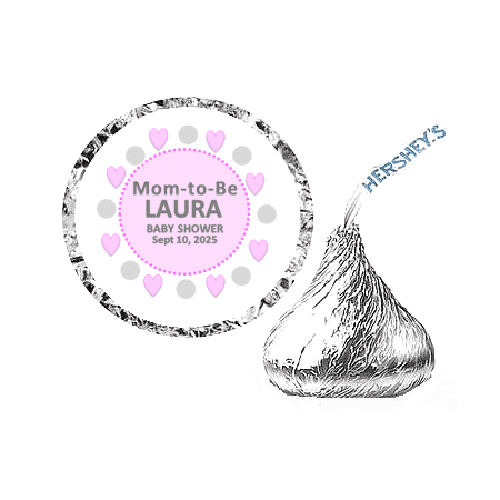 216 Mom To Be Baby Shower Party Favor Hershey's Kisses Stickers / Labels - Pink](Silver Snail Halloween Party 2017)