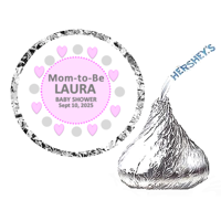 216 Mom To Be Baby Shower Party Favor Hershey's Kisses Stickers / Labels - Pink