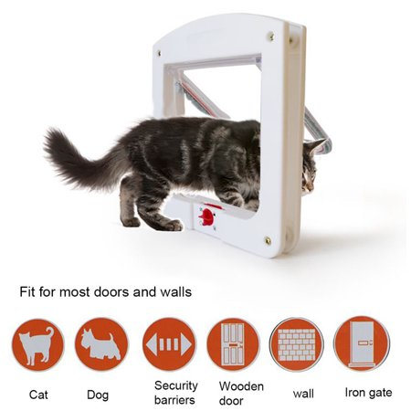 - YXwin Pet Door Cat Flap Dog Door 4 Ways of Locking Security Barrier Flap Rainproof No Noise Pet Products Fits for 15 lbs Pets Cats Small Dogs Poodles (White)