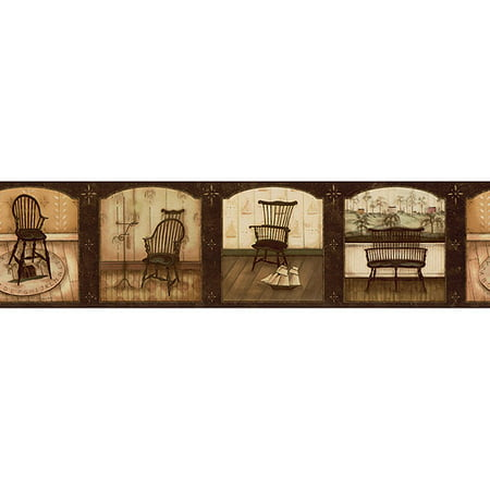 wooden chairs wallpaper border