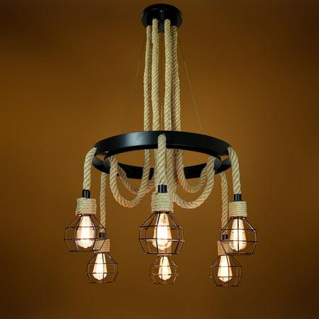 Renaissance 6 Light Oval Chandelier - Industrial Style 6 Heads Hemp Rope Chandelier Ceiling Pendant Light Cage Lighting Lamp Vintage