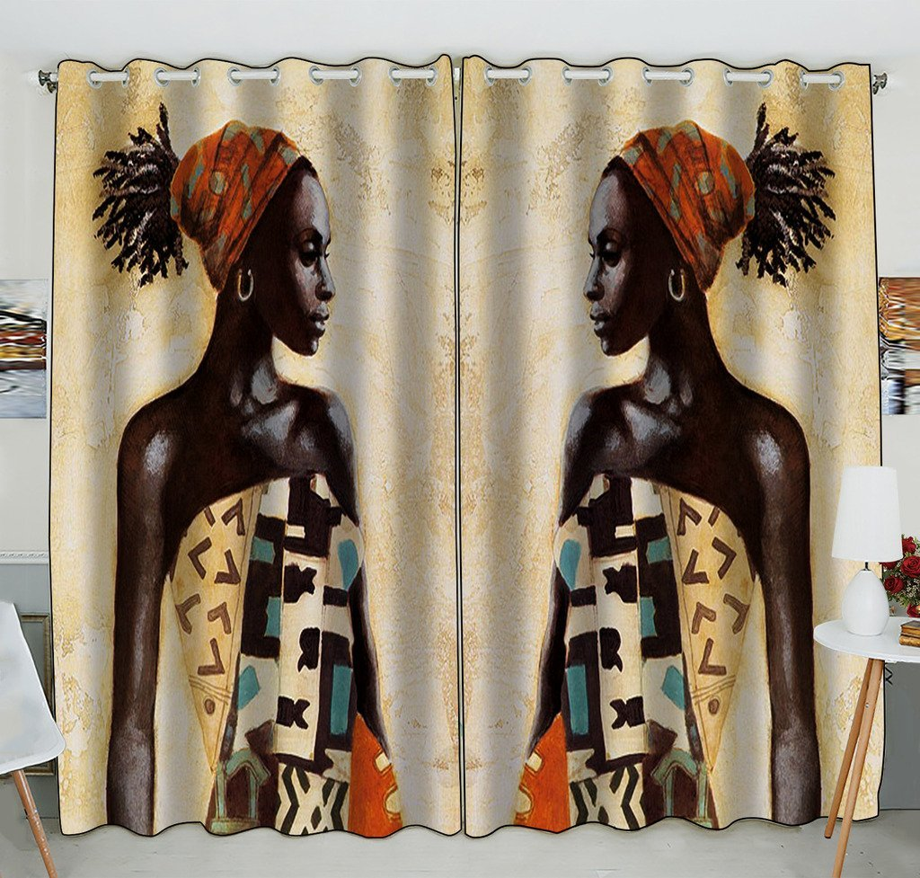 Gckg African Woman Window Curtain Kitchen Curtain Window Drapes Panel For Living Room Bedroom Size 52 W X 84 H Inches Two Piece Walmart Com Walmart Com