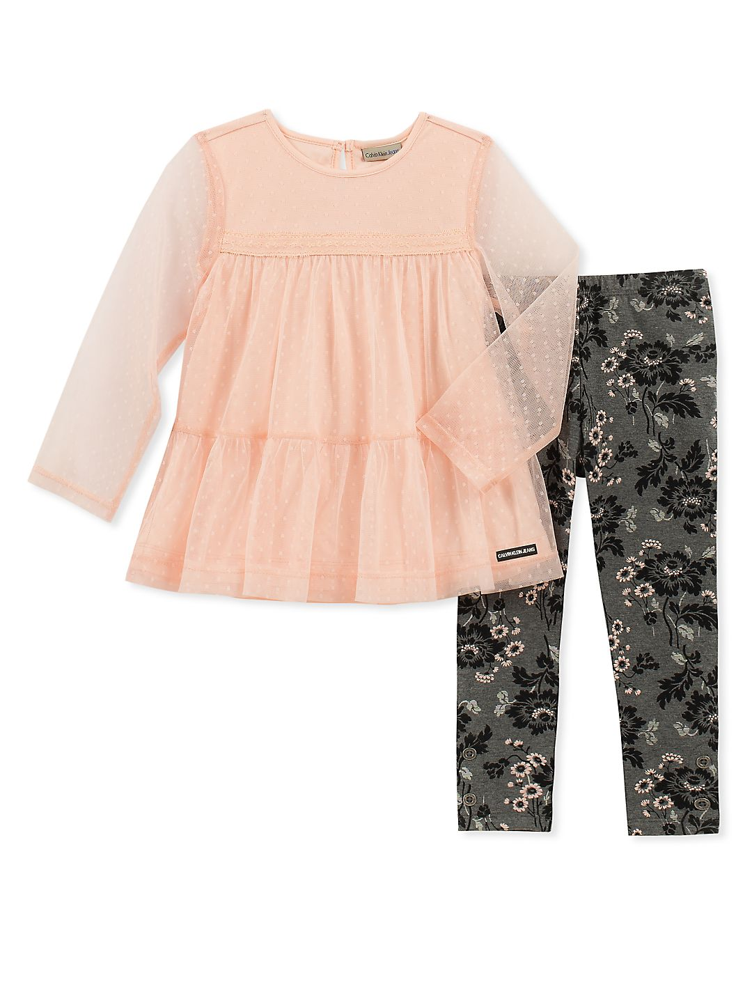 Little Girl's Two-Piece Mesh Tunic and Floral Leggings Set