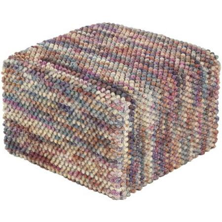 18 rose pink and beige hobnail cotton square pouf ottoman. Black Bedroom Furniture Sets. Home Design Ideas