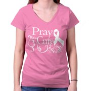 Breast Cancer Awareness Shirt | Pray Cure Think Pink Ribbon Junior V-Neck Tee