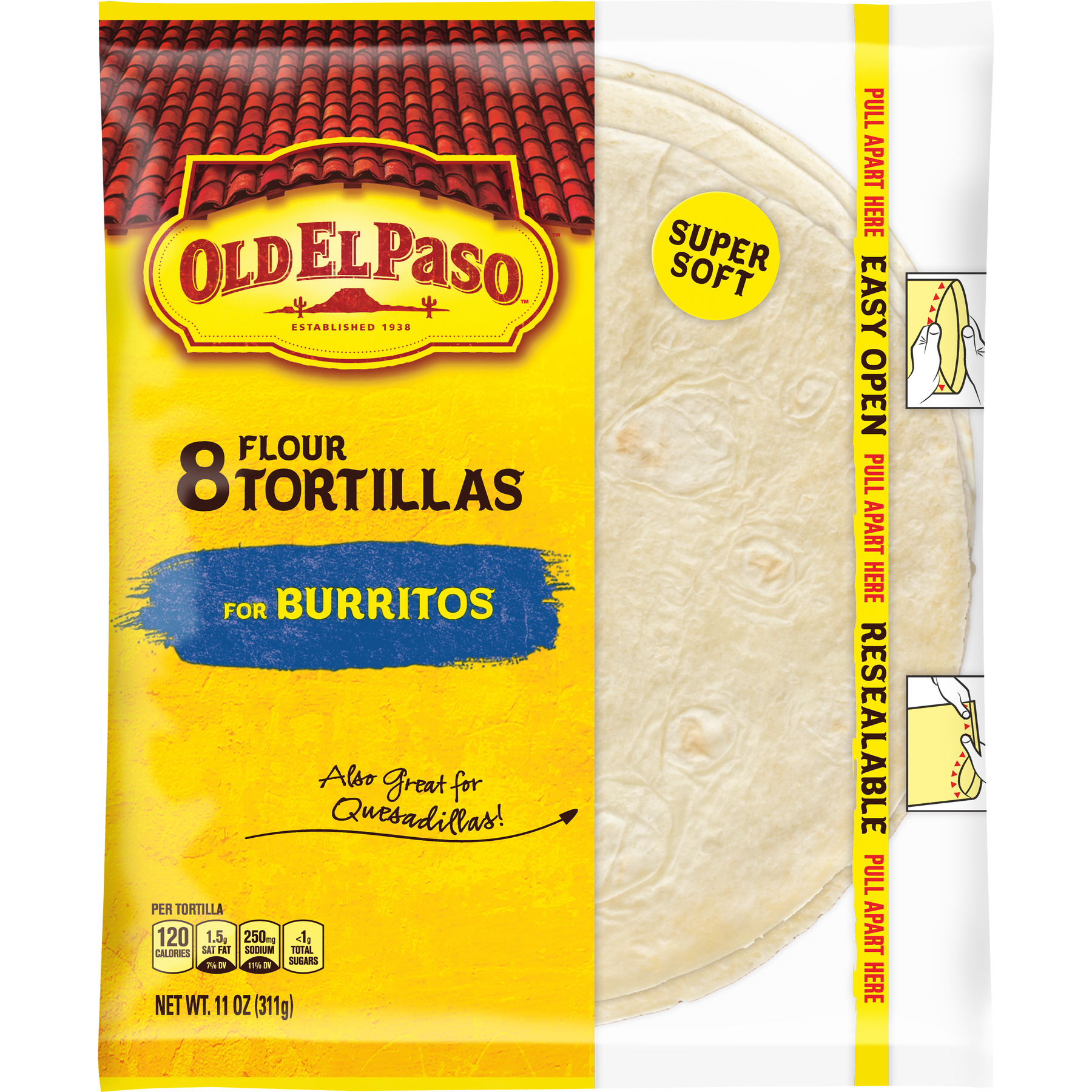 Old El Paso Flour Tortilla Shells, 8 Ct, 11 oz