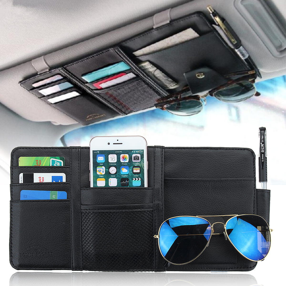 Car Sun Visor Organizer Card Glasses Business Card Storage Holder Case Bag Multi-Pocket