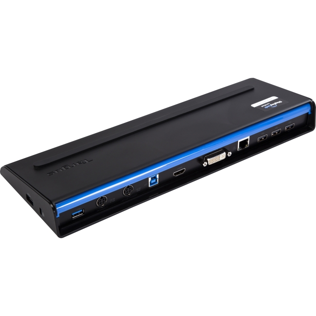 Targus USB 3.0 SuperSpeed Dual Video Docking Station With Power - 6 x USB Ports - Network (RJ-45) - Audio Line Out - Microphone - Docking