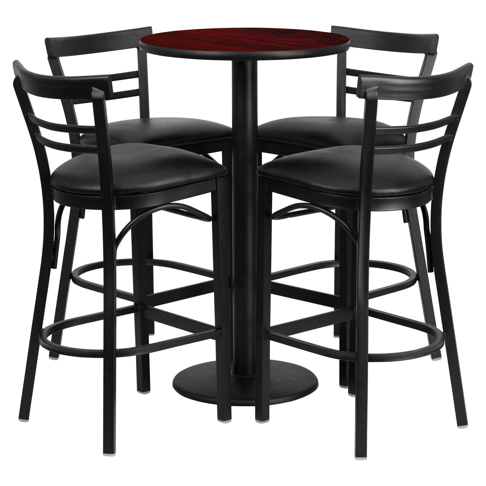Flash Furniture 24'' Round Mahogany Laminate Table Set with 4 Ladder Back Barstools, Black Vinyl Seat