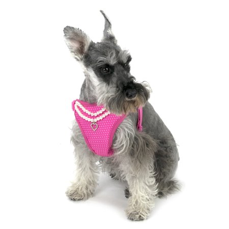 Vibrant Life Pink Polka Dot Pearl Necklace Dog Harness, Medium