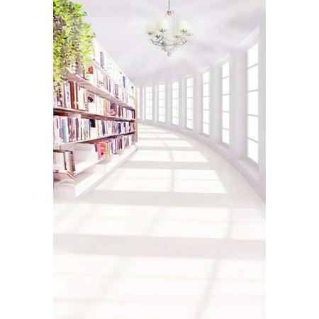 ABPHOTO Polyester 5x7ft White Backgrounds Chandelier Light Library Books Shelf Study Studio Kids Photography - Chandelier Library Table