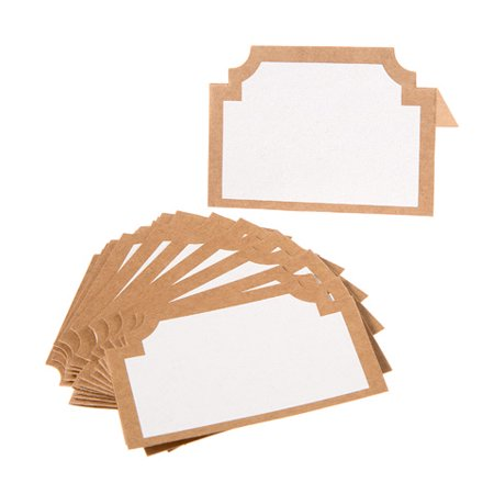 Kraft Bordered Paper Place Cards: 3 x 2 inches, 24 pieces