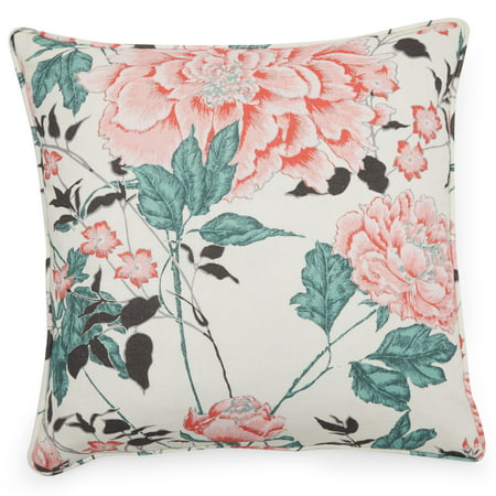 Vintage Floral Decorative Throw Pillow, 20x20