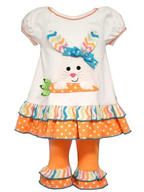 Bonnie Jean Toddler Girls Bunny Rabbit Ruffled Shirt Leggings 2 Piece Outfit