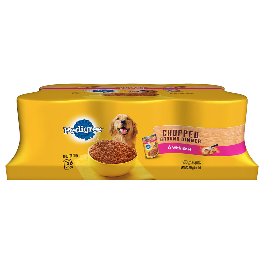 PEDIGREE Meaty Ground Dinner With Beef Canned Dog Food 13.2 Ounces (Pack of 6)