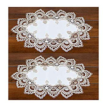 Lace Place Mat Dresser Scarf Doily Cocoa Brown Neutral and White European Place Mat 12 x 21 Inches Set of 2