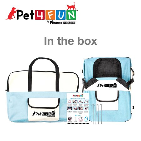 Pet4Fun PN950 Foldable Travel Crate Pet Carrier for Cat or Dog (Small) BLUE
