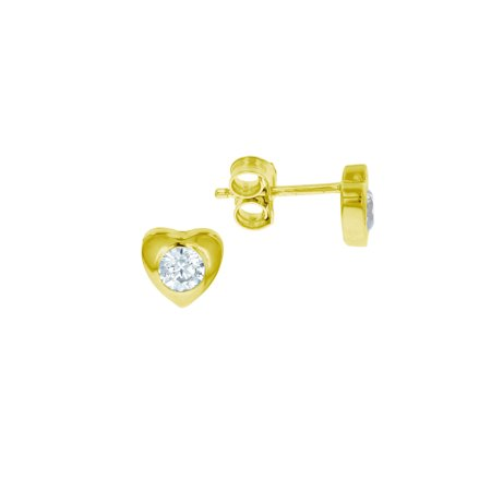 ZilverZoom Sterling Silver Gold Plated 4MM Round CZ in Heart Shape Stud