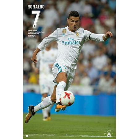 Real Madrid - Soccer Poster / Print (Cristiano Ronaldo - In Action Version 1 - Season 2017 / 2018) (Size: 24