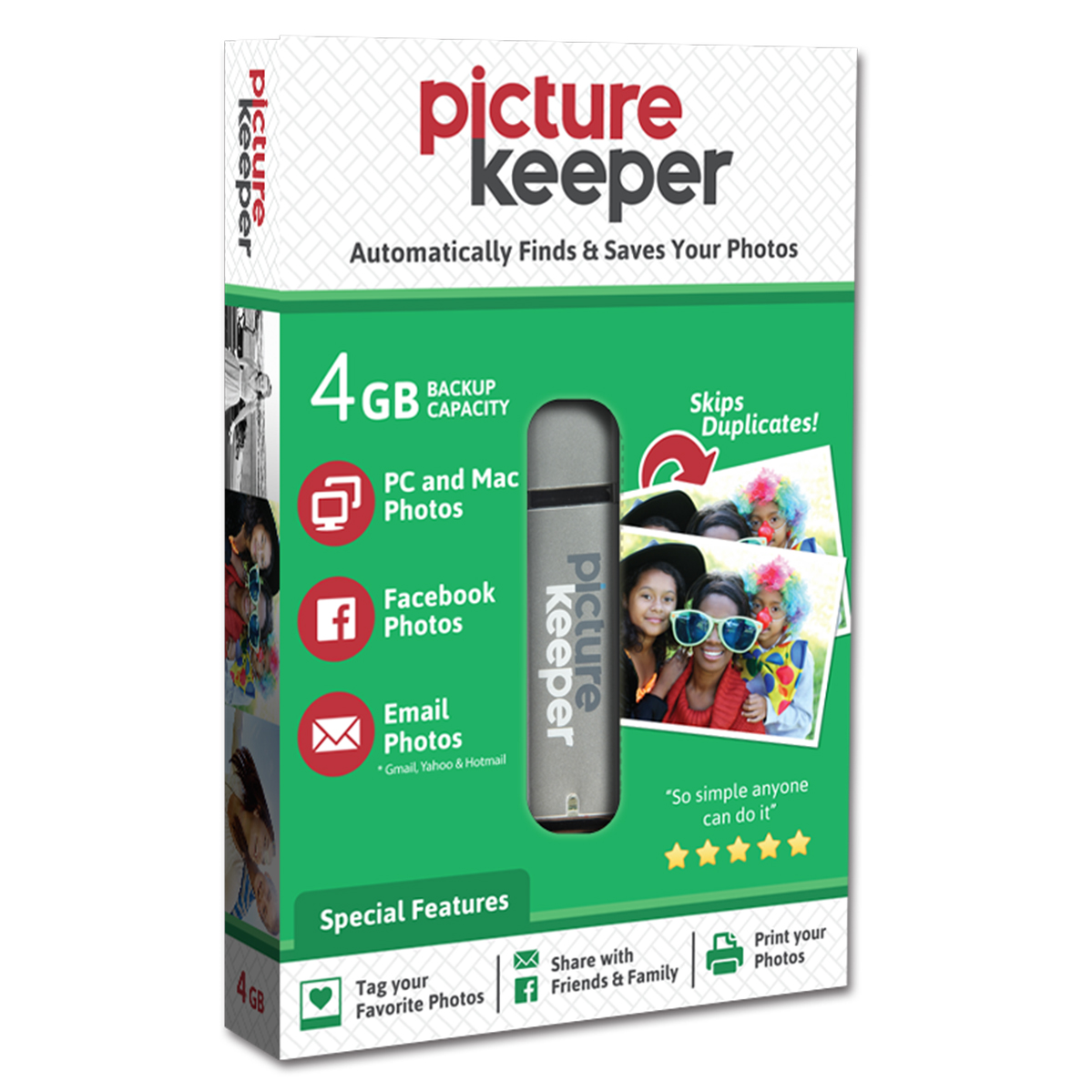 Picture Keeper Portable Flash Drive Photo Backup USB Drive 4GB