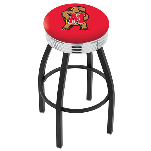 Holland Collegiate 30 in. Bar Stool with Ribbed Accent Ring