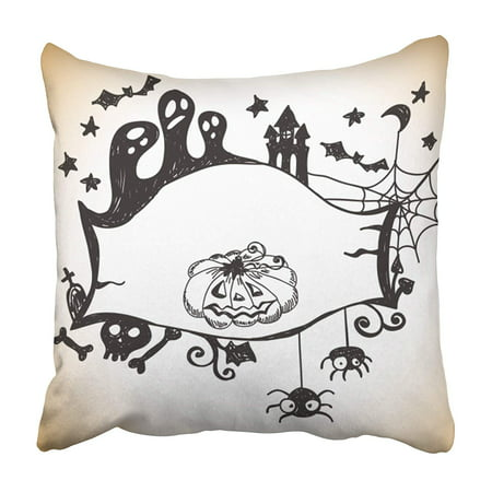 CMFUN Boo Halloween with Place Abstract Autumn Bat Black Border Cartoon Celebration Pillowcase 16x16 inch](Halloween Border Page)