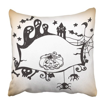 CMFUN Boo Halloween with Place Abstract Autumn Bat Black Border Cartoon Celebration Pillowcase 16x16 inch - Halloween Corner Borders