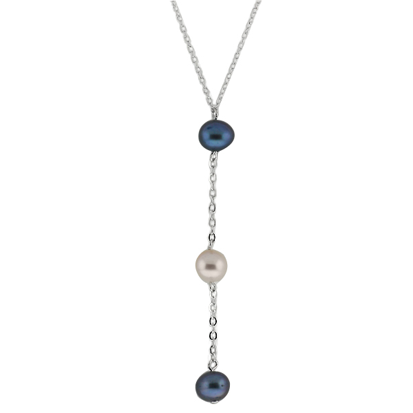 """16"""" + 2"""" Extender 3 MultiColor Cultured Freshwater Pearl Sterling Silver Pendant"""