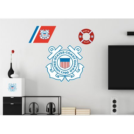 - U.S. Coast Guard Logo Repositionable Military Wall Decals Posters Decor