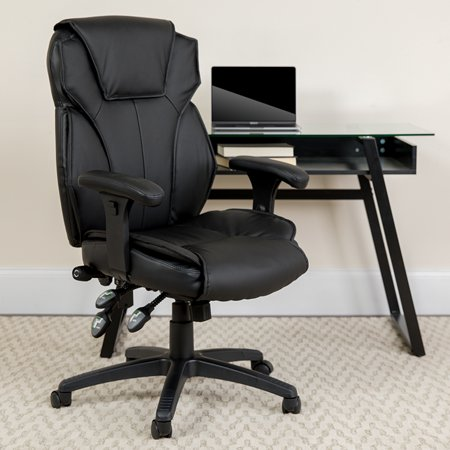 High Back Black Leather Multifunction Ergonomic Office Chair, Lumbar (Knoll Leather Chair)