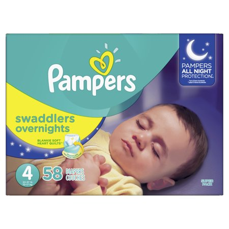 Pampers Swaddlers Overnights Diapers (Choose Size and Count) (Diaper Drawing)