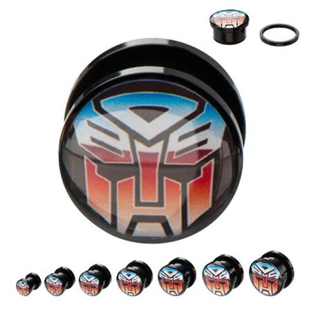 Black Acrylic Plug - Transformers TFMAPS01-0PR Screw Fit Autobot Acrylic Plugs, Black - Size 0