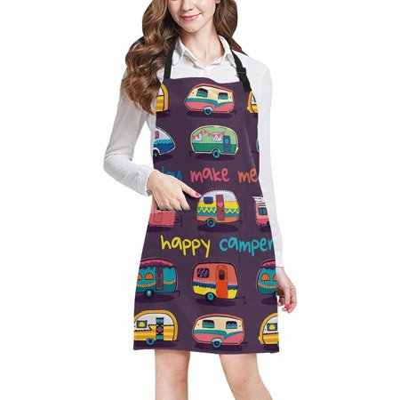 ASHLEIGH Funny You Make Me Happy Camper Motivational Quote with Retro Caravans Home Kitchen Apron for Women Men with Pockets, Unisex Adjustable Bib Apron for Cooking Baking Gardening
