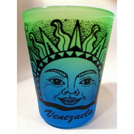 Venezuela Sun Neon Green Neon Blue Shot Glass