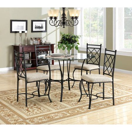 - Kitchen Dinette Set Dining Room Furniture 5 Piece Metal Glass Top Table Chairs