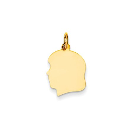 14k Gold Plain Medium .011 Gauge Facing Left Engraveable Girl Head Charm Pendant (0.83 in x 0.51 in) - Gold Girls Charm