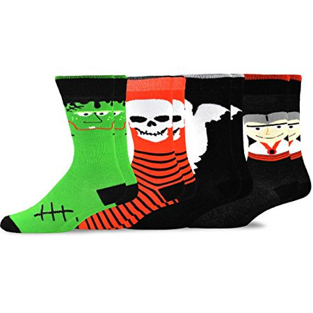 TeeHee Novelty Happy Halloween Fun Crew Socks 4 Pair Pack (10-13, Skull Monster Ghost face) Toy Machine Monster Socks
