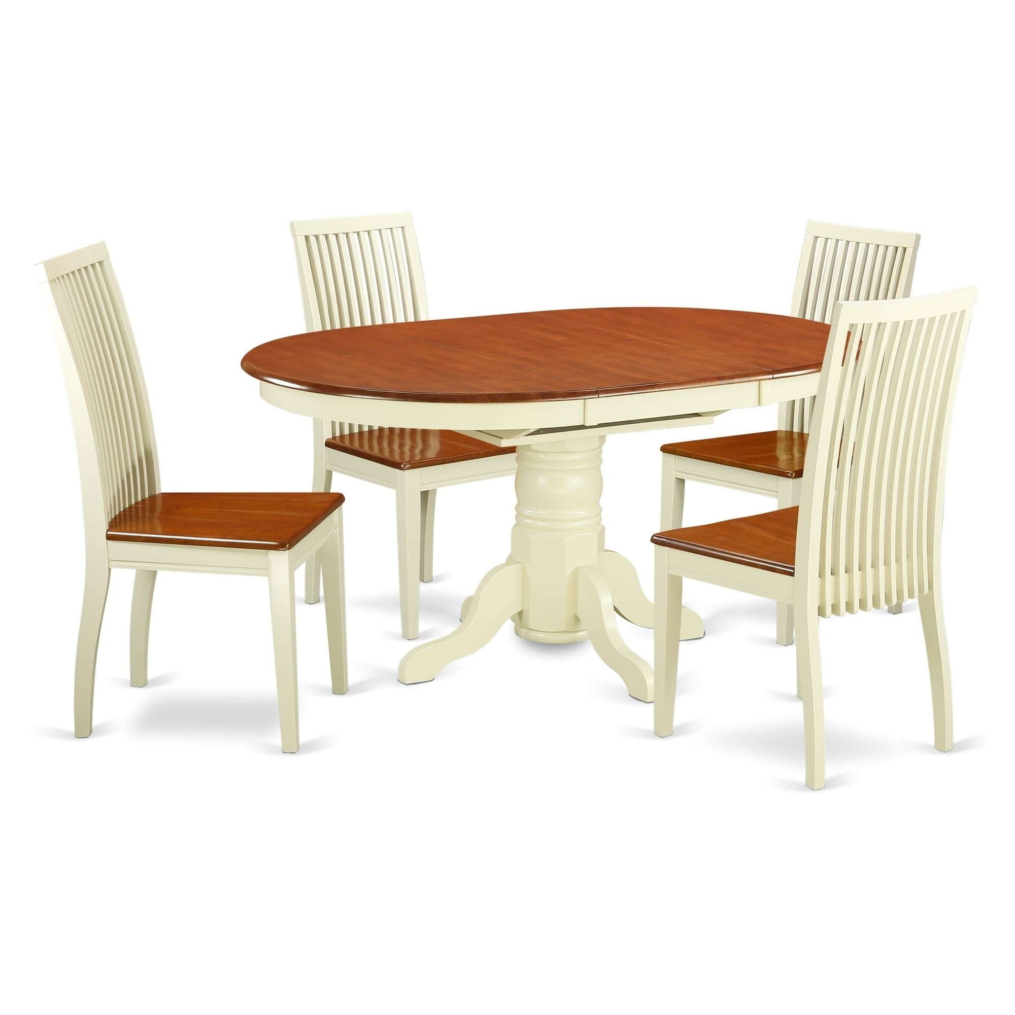 East West Furniture AVIP7-WHI-W 7 Pc Dining set with a Kitchen Table and 6 Wood Seat Kitchen Chairs in Buttermilk and Cherry-Finish:Buttermilk & Cherry,Shape:Oval,Style:Wood Seat