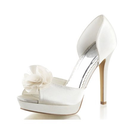 Womens Ivory Bridal Shoes D'Orsay Pumps Peep Toe Satin Flower 4 3/4 Inch Heels