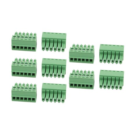 10 Pcs LC1 AC300V 8A 3 5mm Pitch 6P PCB Mount Terminal Block Wire Connector